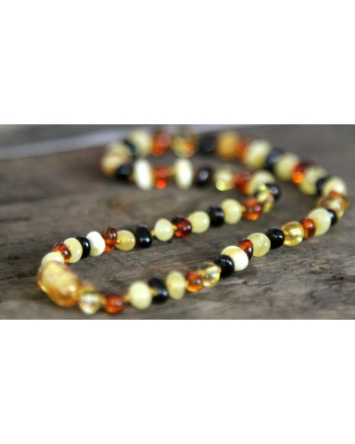 "Baltic Amber Baby Teething Calming Round Beaded Necklace -- ""The Seashore"""