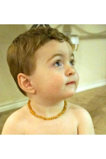 Baltic Amber Baby RAW Teething Necklace Rounded Beads --