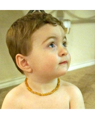 "Baltic Amber Baby RAW Teething Necklace Rounded Beads -- ""The Campfire"""