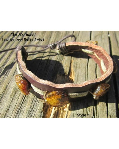 "Baltic Amber and Genuine Leather Adjustable Bracelet -- ""The Southwest"" Style 1"