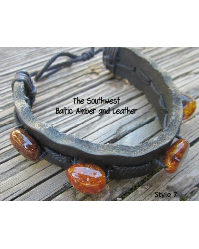 "Baltic Amber and Genuine Leather Adjustable Bracelet -- ""The Southwest"" Style 7"