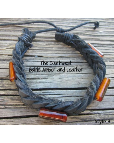 "Baltic Amber and Genuine Leather Adjustable Bracelet -- ""The Southwest"" Style 9"