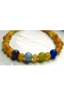 Custom Mother's Bracelet -- RAW Baltic Amber and Gemstone Beads