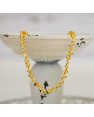 "Baltic Amber Baby Teething Calming Round Beaded Necklace -- ""The Sunrise"""