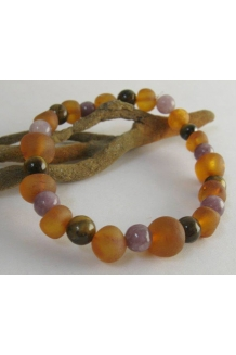 Amber, Tiger's Eye, Lepidolite Calming Bracelet Custom Sized --