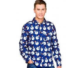 Christmas Shirt Blue-Snowman