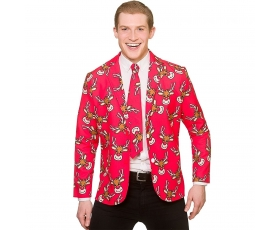 Christmas Jacket & Tie  Red w/Reindeer