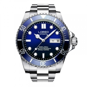Loreo Stainless steel Sub Automatic Divers Watch Blue Dial
