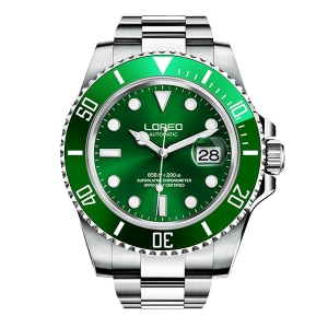 LOREO STAINLESS STEEL SUB AUTOMATIC DIVERS WATCH GREEN