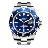 LOREO Mens Silver Stainless Steel Sapphire Glass Blue Rotating bezel Men's Automatic Watch