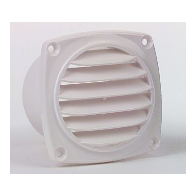 Vent 70mm with hose spigot White ABS