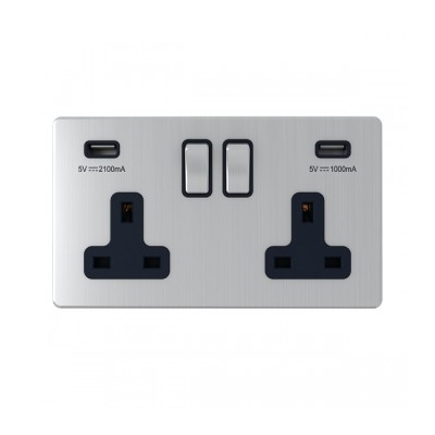 UK Double USB Socket - Brushed metal - Black Insert - Charge Multiple Devices