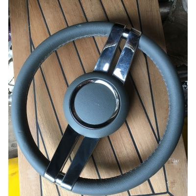 Isotta twin spoke grey leather steering wheel unbranded