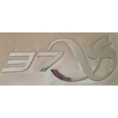 "Decal ""37S""  raised plastic with chrome finish"