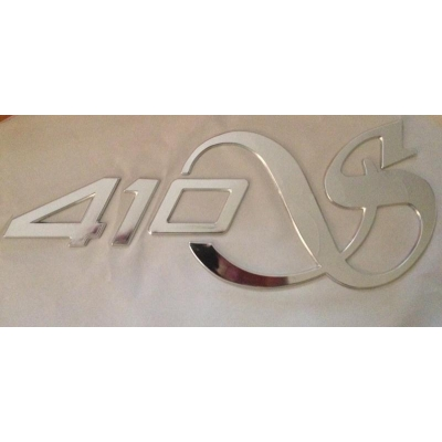 "Decal ""410S""  raised plastic with chrome finish"