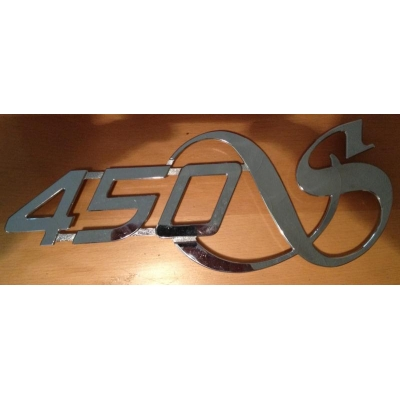 "Decal ""450S"" in cast stainless steel"