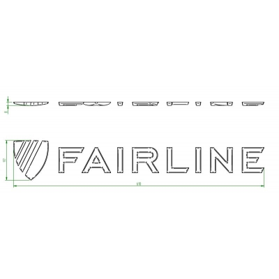 "Decal ""FAIRLINE"" raised silver finish with crest"