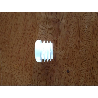 White plastic table support bung 22mm