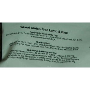 Lamb and Rice - Wheat Gluten Free 12kg -  including delivery in the UK