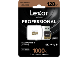 Lexar 128GB 1000x Micro SD Professional with USB3.0 Adapter 150MB/s