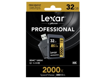 Lexar 32GB 2000x SDHC Professional 300MB/s with USB3.0 Card Reader