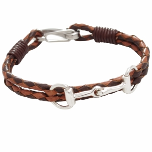 Hiho Silver - Silver Snaffle Leather Bracelet