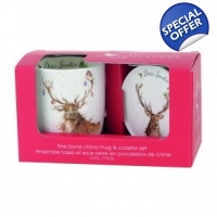 Wrendale Mug and Coaster set Deer Santa Stag