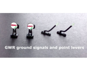2 GWR ground signals and 2 trackside point levers. Metal. Non working