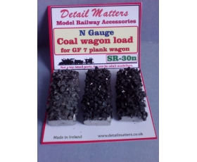 COAL Wagon load for Graham Farish or Peco 7 plank open wagon. Pack of 3