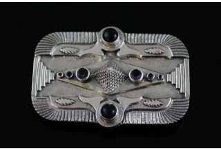 Double Isis Wings Pyramid Belt Buckle
