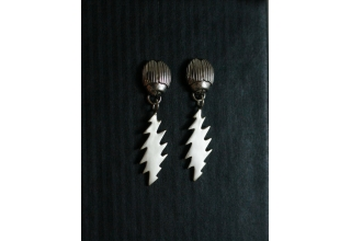 Scarab Earrings with 13 Point Bolt Dangles