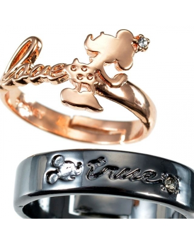 Japan Disney store Disneystore Jewel Mickey Mouse & Minnie Mouse Couple pair rings