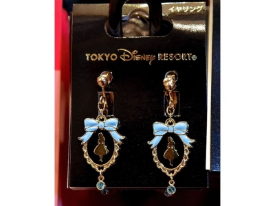 Japan Tokyo Disneyland Disneysea Disney Resorts Land Sea Alice in Wonderland Earring with Blue Crystals
