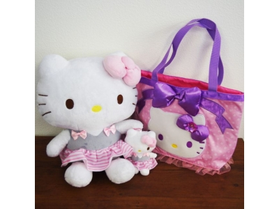 Japan SANRIO ☆ Hello Kitty Ballet Stuffed Toy Chain Bag 3P set  Pink Dot