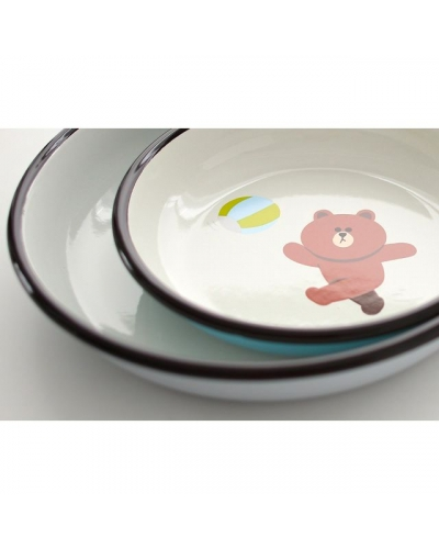 Japan Line Friends Brown Bear x Muurla dish plate playing ball