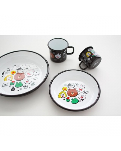 Japan Line Friends Brown Bear Cony Leonard James Moon Sally x Muurla dish plate