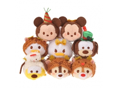 Japan Disney store Tsum Tsum 2016 Christmas Disney characters S stuffed toy 日本迪士尼士多2016聖誕tsum tsum毛公仔套