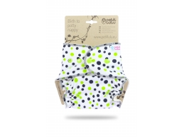 Petit Lulu formsydd - Green black dots m/knapper