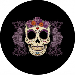 Sugar Skull Purple spare tire cover