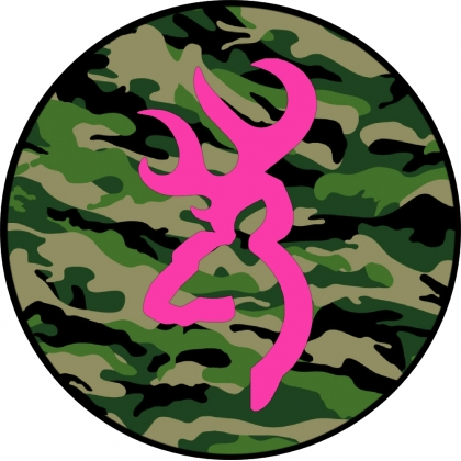 Pink Deer Head Logo With Camo Background