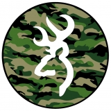 White Deer Head Logo on Camo Tire Cover