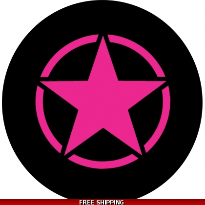 Pink Jeep Star Spare Tire Cover