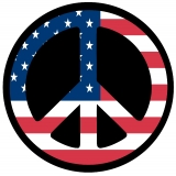American Flag Peace Symbol Tire Cover