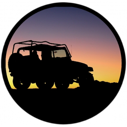 Sunset Jeep Silhouette Spare Tire Cover