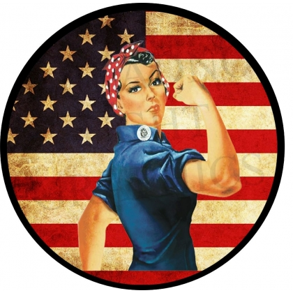 Rosie The Riveter Vintage Flag Spare Tire Cover