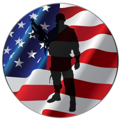 Soldier Silhouette American Flag Tire Cover