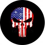 Punisher Skull American Flag tire cover