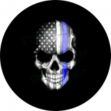 Flag Skull Thin Blue Line Tire Cover