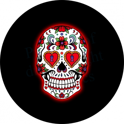 Sugar Skull Heart Eyes Spare Tire Cover
