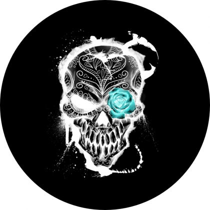 Spare Tire Cover with Blue Flower Skull